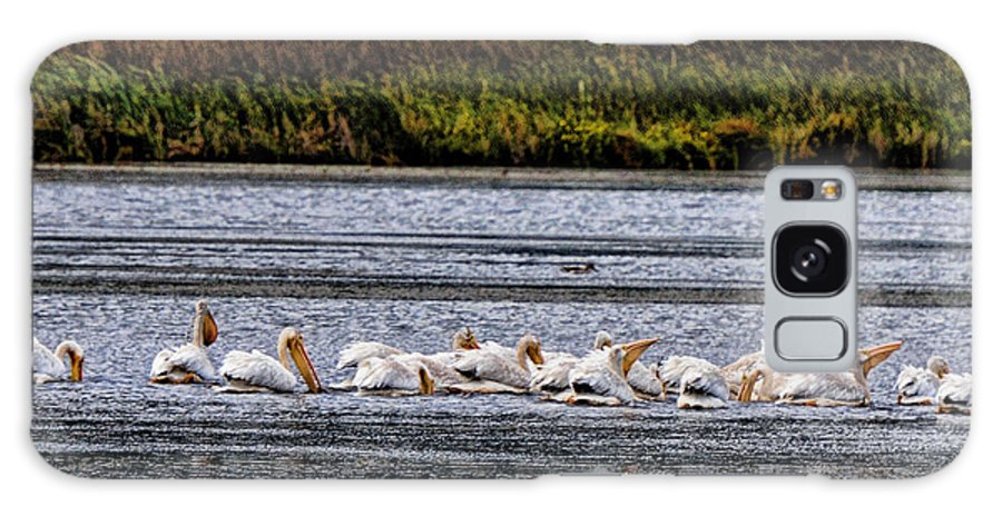 Galaxy S8 Case featuring the photograph White Pelicans Kootenay Lake by Lawrence Christopher