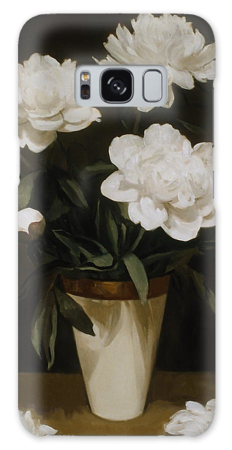 White Peonies Galaxy S8 Case featuring the painting White Peonies In Cone-shaped Vase by Robert Holden