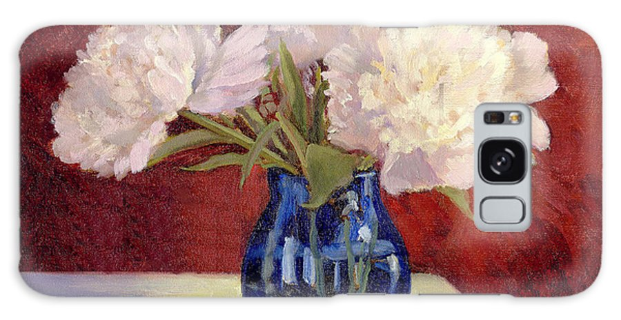 Peonies Galaxy Case featuring the painting White Peonies by Keith Burgess