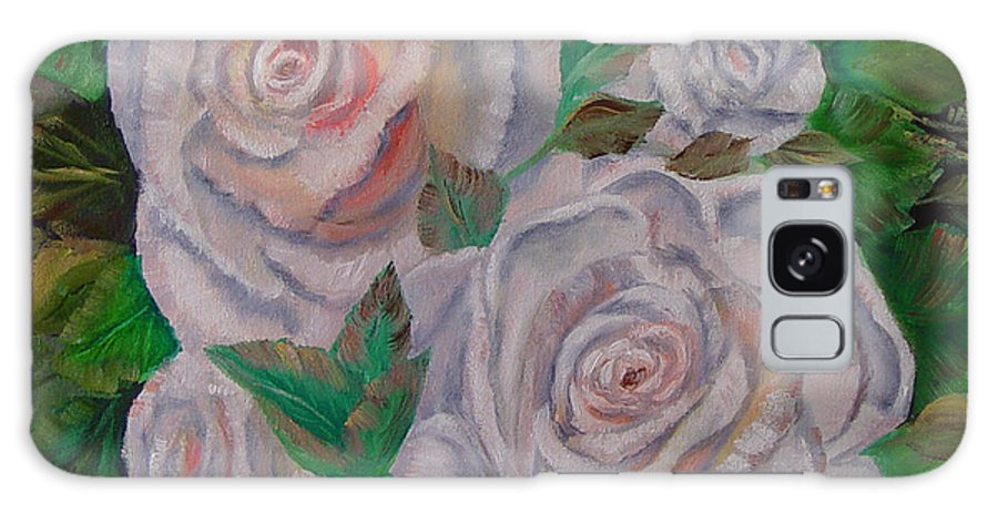 Roses Galaxy Case featuring the painting White Roses by Quwatha Valentine