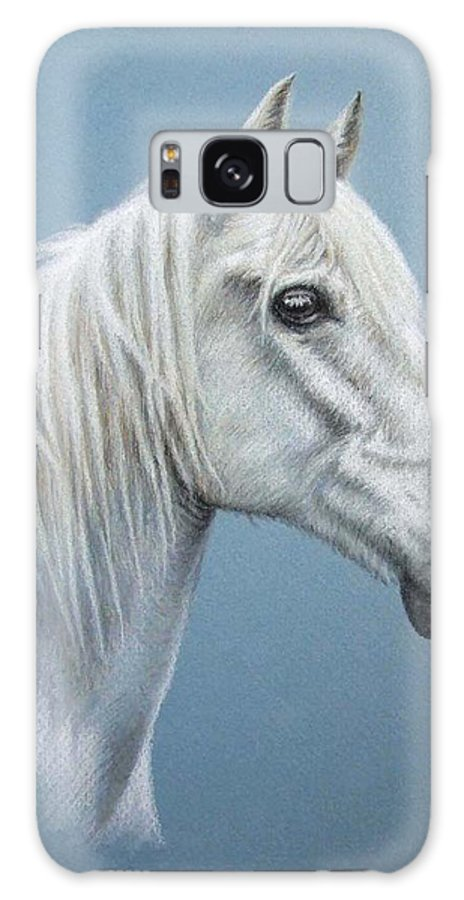 Horse Stallion White Pferd Portrait Animal Realism Pastel Galaxy Case featuring the pastel White Stallion by Nicole Zeug