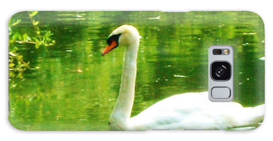 White Swan Galaxy S8 Case featuring the painting White Swan Swim In Pond by Robin Cordero