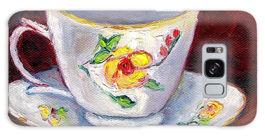 Still Life Galaxy S8 Case featuring the painting White Tea Cup With Yellow Flowers Grace Venditti Montreal Art by Grace Venditti