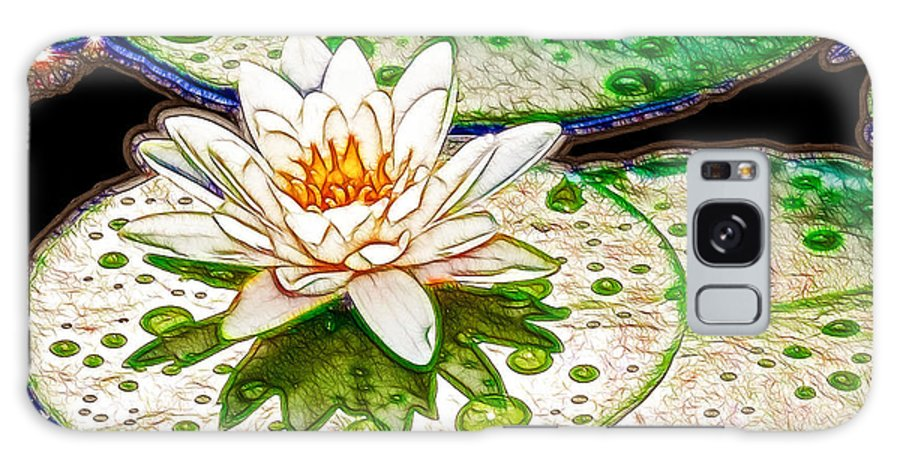 Flower Galaxy S8 Case featuring the painting White Water Lilies Flower by Jeelan Clark