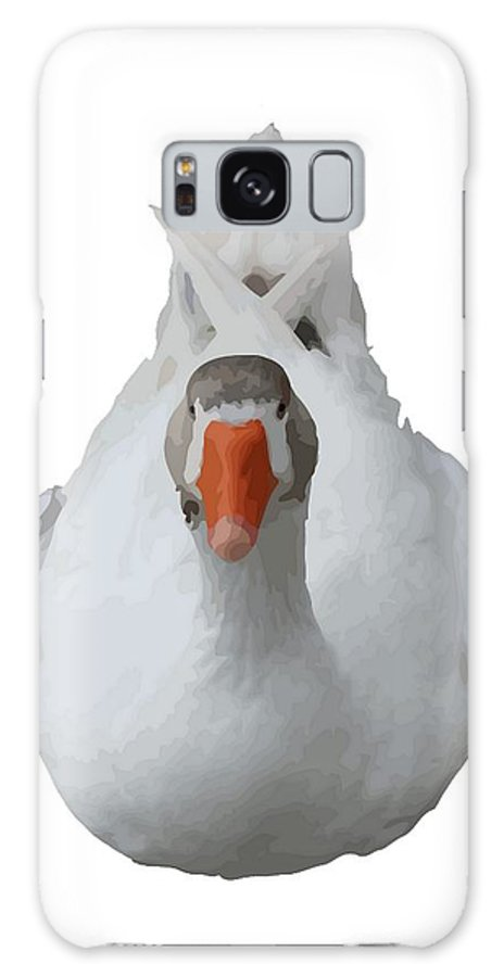Duck Galaxy S8 Case featuring the photograph White Wild Duck Sitting Background Removed by Taiche Acrylic Art