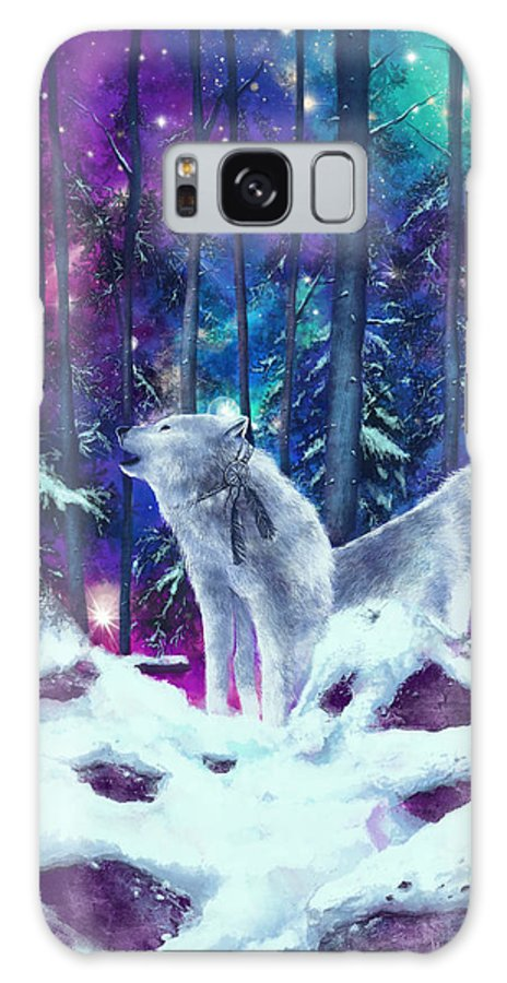 Wolf Galaxy Case featuring the painting White Wolves by Bekim M