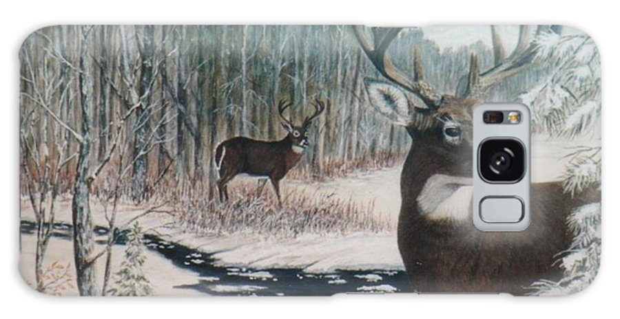 Deer; Snow; Creek Galaxy Case featuring the painting Whitetail Deer by Ben Kiger