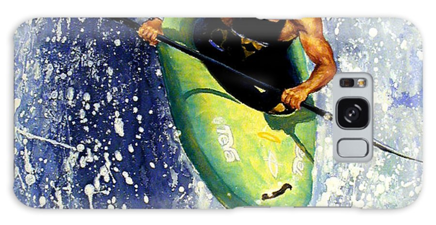 Kayaker Galaxy S8 Case featuring the painting Whitewater Kayaker by Lynee Sapere
