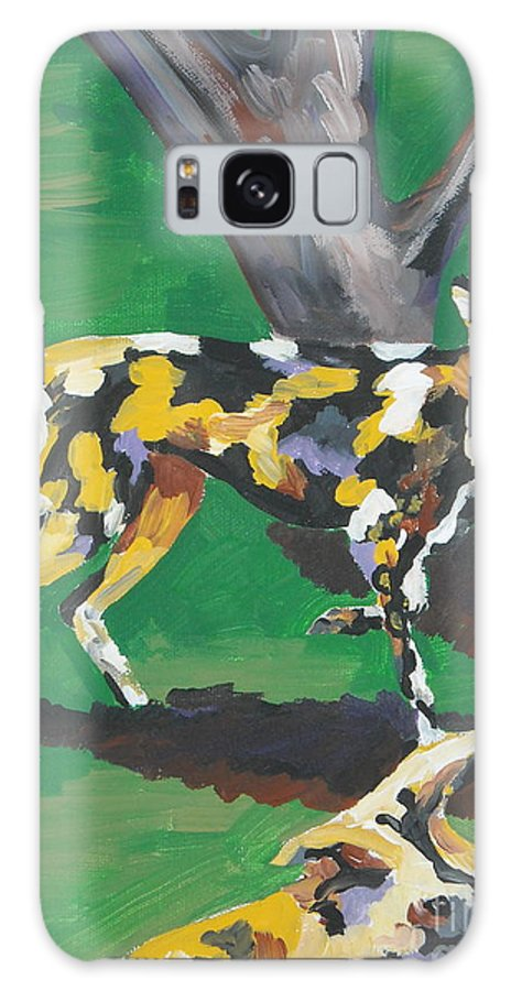 Dog Galaxy Case featuring the painting Wild Dogs by Caroline Davis