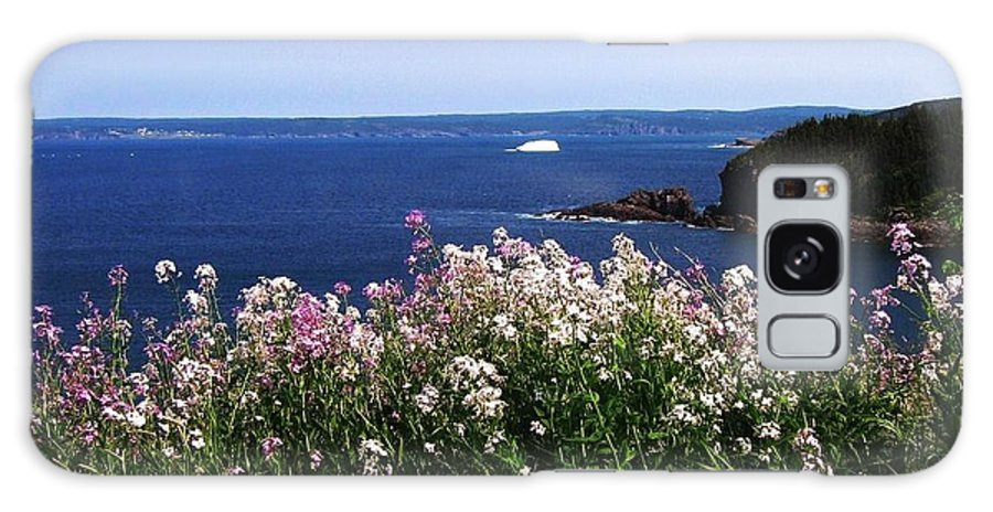 Photograph Iceberg Wild Flower Atlantic Ocean Newfoundland Galaxy Case featuring the photograph Wild Flowers And Iceberg by Seon-Jeong Kim