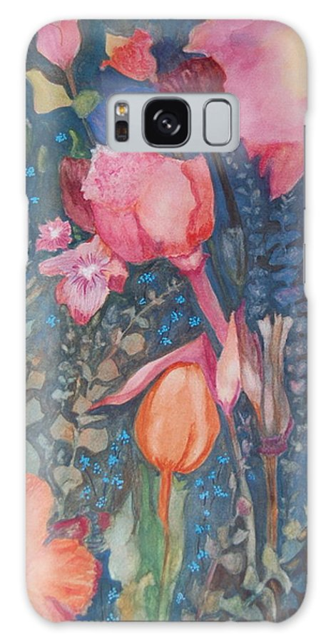 Flower Abstract Galaxy S8 Case featuring the painting Wild Flowers In The Wind II by Henny Dagenais