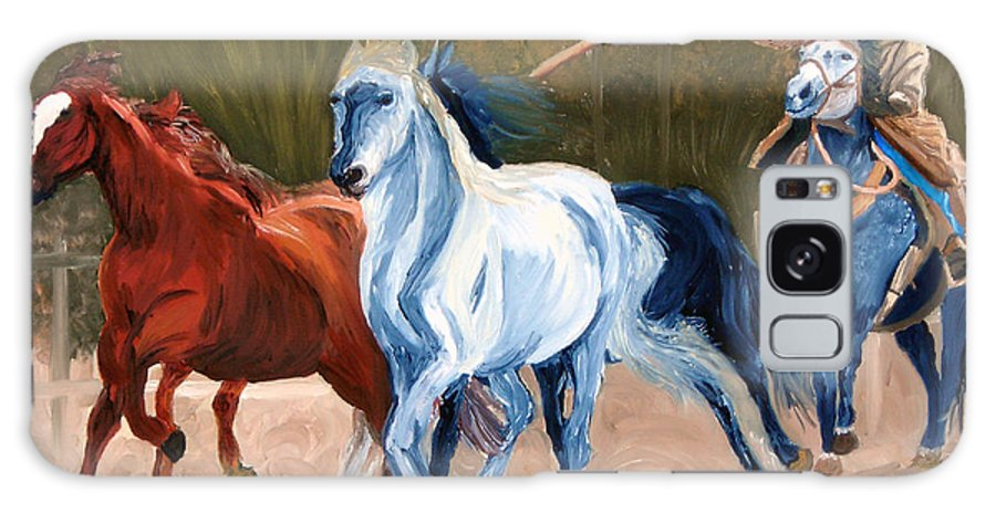 Cowboy Galaxy Case featuring the painting Wild Horse Roundup by Michael Lee