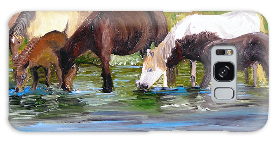 Horses Galaxy Case featuring the painting Wild Horses At The Watering Hole by Michael Lee