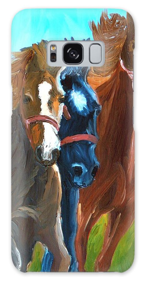 Horses Galaxy Case featuring the painting Wild Horses Running by Michael Lee