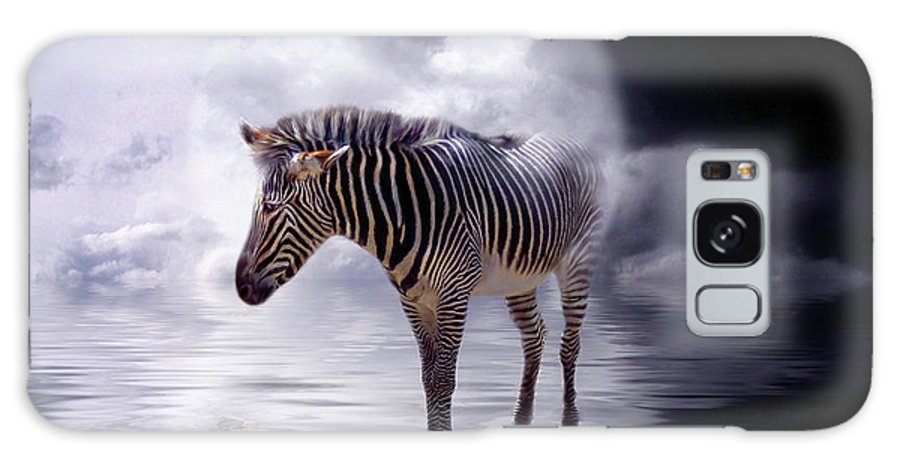Zebra Galaxy S8 Case featuring the mixed media Wild In The Moonlight by Carol Cavalaris