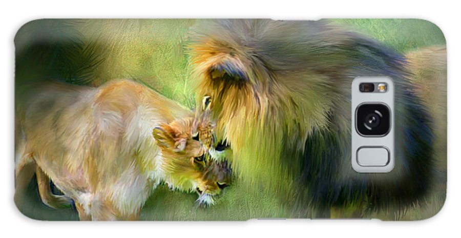 Lion Galaxy S8 Case featuring the mixed media Wild Instinct by Carol Cavalaris