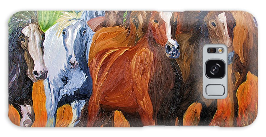 Wild Horse Galaxy S8 Case featuring the painting Wild N Free Forever by Michael Lee
