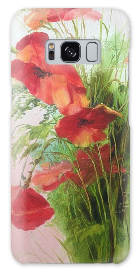 Poppy Galaxy Case featuring the painting Wild Poppies by Lizzy Forrester