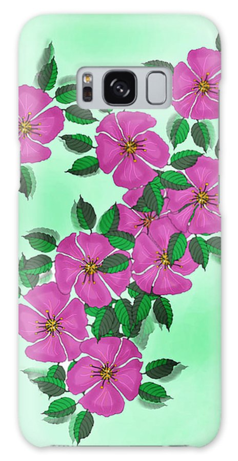Floral Galaxy Case featuring the painting Wild Roses by Anne Norskog
