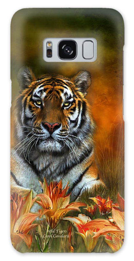Tiger Galaxy S8 Case featuring the mixed media Wild Tigers by Carol Cavalaris