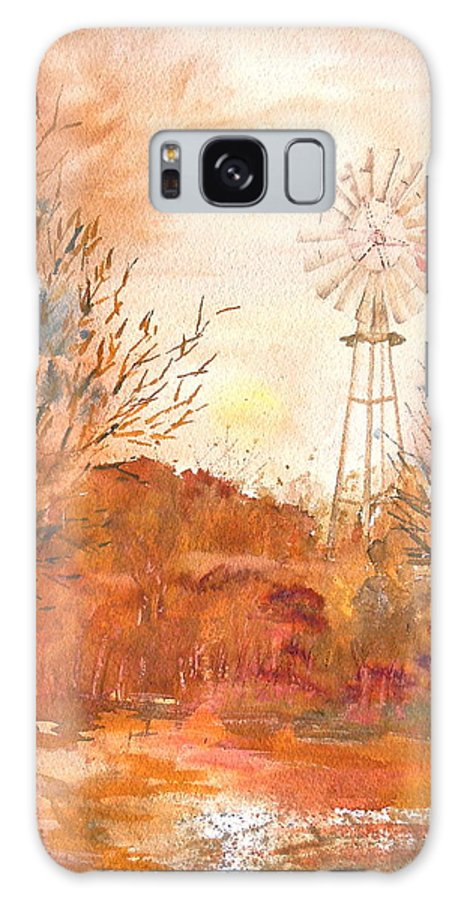 Windmill Galaxy S8 Case featuring the painting Wilderness Windmill by Sharon Mick