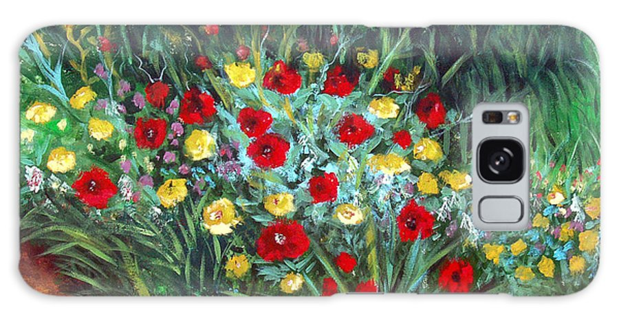 Abstract Galaxy Case featuring the painting Wildflower Garden 1 by Nancy Mueller