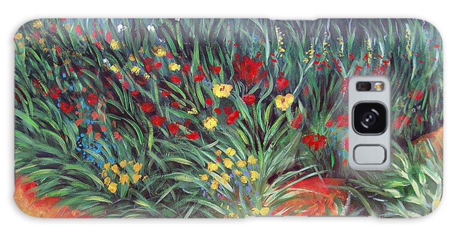 Landscape Galaxy Case featuring the painting Wildflower Garden 2 by Nancy Mueller