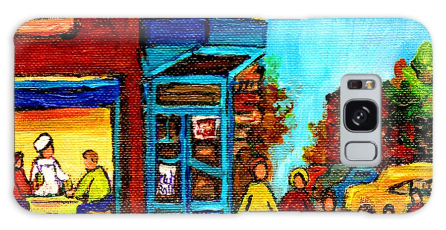 Montreal Galaxy S8 Case featuring the painting Wilensky's Lunch Counter With School Bus Montreal Street Scene by Carole Spandau
