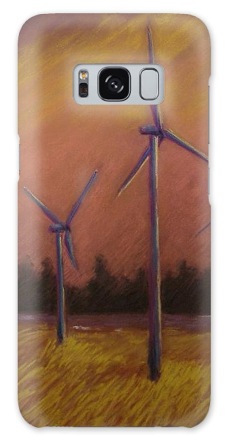 Wind Turbine Galaxy S8 Case featuring the pastel Wind And Wheat by Pat Snook