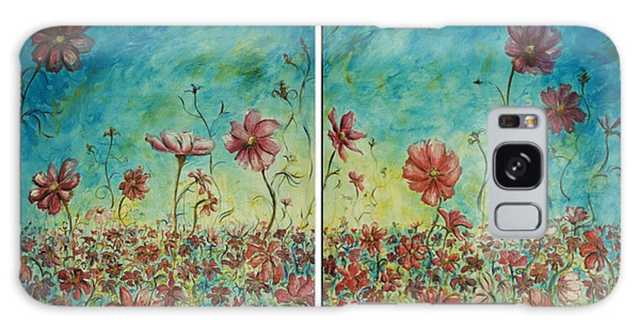 Flowers Galaxy Case featuring the painting Wind Dancers by Nik Helbig