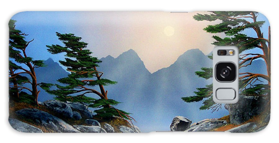 Windblown Pines Galaxy Case featuring the painting Windblown Pines by Frank Wilson