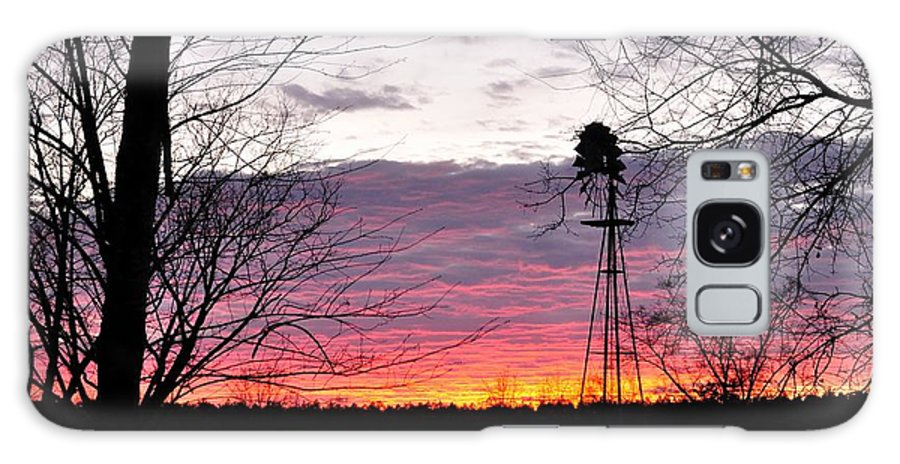 Sunset Galaxy S8 Case featuring the photograph Windmill Sunset Color by Mark Stratton