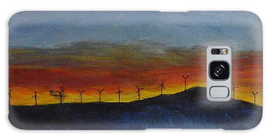 Galaxy S8 Case featuring the painting Burney Sunset With Windmills by Fred Jones