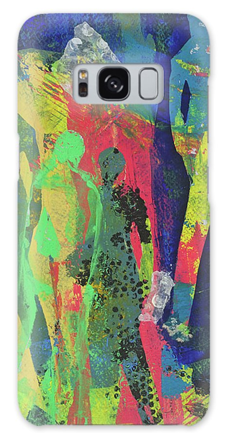 Abstract Figurative Mixed Media Cathy Hirsh Galaxy S8 Case featuring the painting Window Display by Cathy Hirsh
