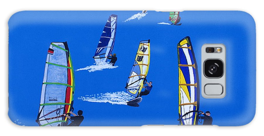Sport Galaxy S8 Case featuring the painting Windsurfers by Frank Hamilton