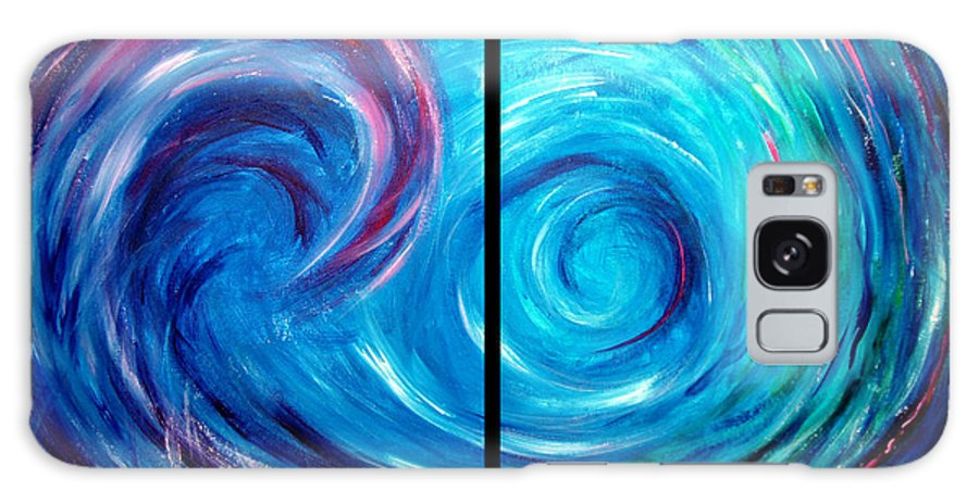 Blue Galaxy S8 Case featuring the painting Windswept Blue Wave And Whirlpool 2 by Nancy Mueller