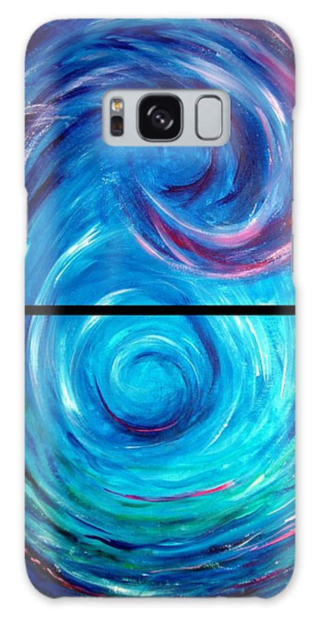 Blue Galaxy S8 Case featuring the painting Windwept Blue Wave And Whirlpool Diptych 1 by Nancy Mueller