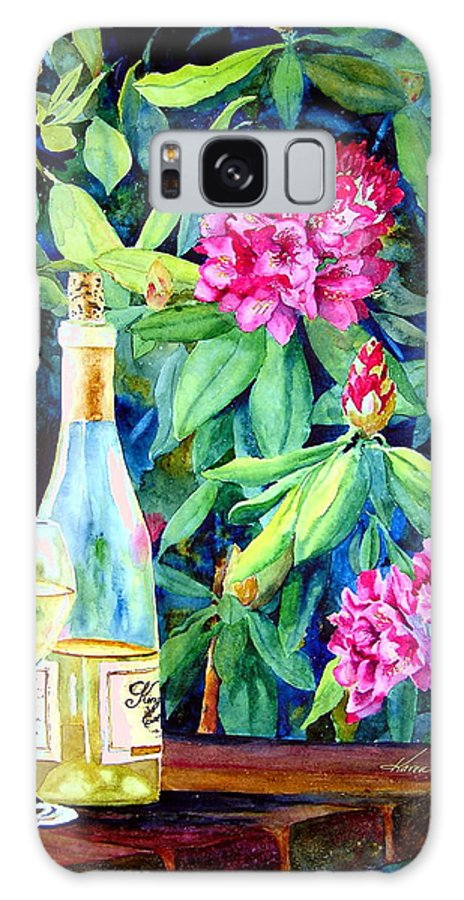 Rhododendron Galaxy S8 Case featuring the painting Wine And Rhodies by Karen Stark