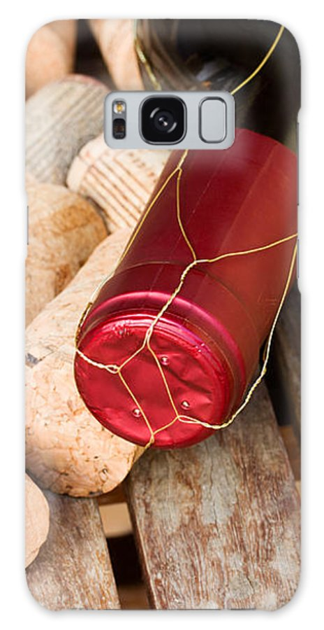 Wine Galaxy S8 Case featuring the photograph Wine Bottle And Corks by Anastasy Yarmolovich