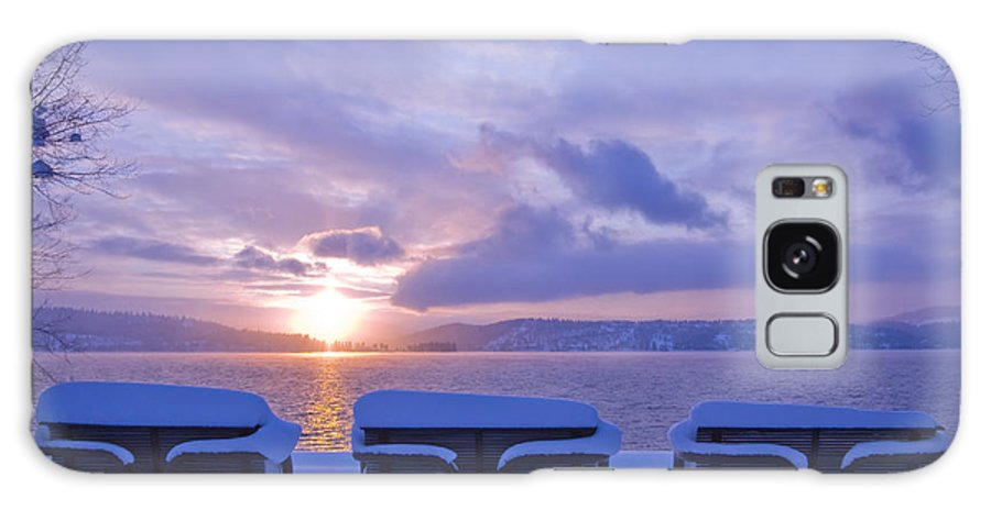 Lake Galaxy Case featuring the photograph Winter Benches by Idaho Scenic Images Linda Lantzy