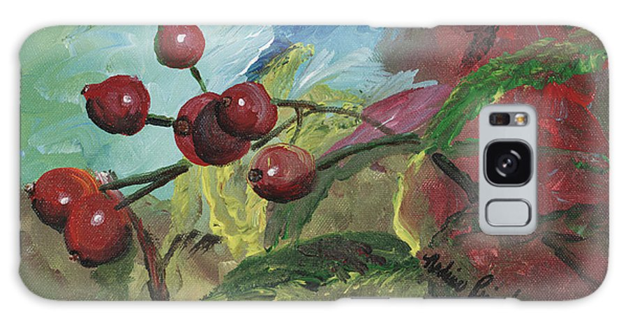 Berries Galaxy Case featuring the painting Winter Berries by Nadine Rippelmeyer
