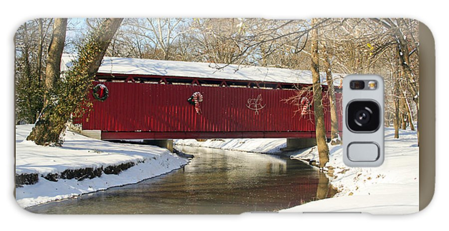Covered Bridge Galaxy Case featuring the photograph Winter Bridge by Margie Wildblood