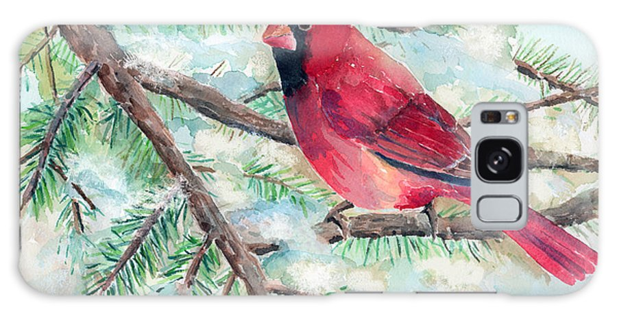 Cardinal Galaxy S8 Case featuring the painting Winter Cardinal by Arline Wagner