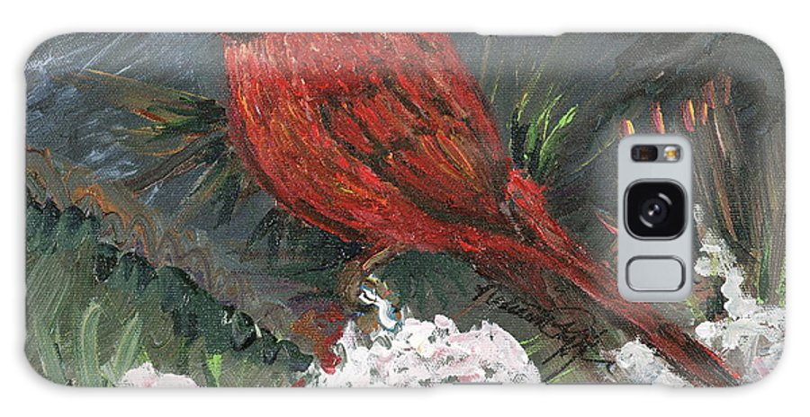 Bird Galaxy S8 Case featuring the painting Winter Cardinal by Nadine Rippelmeyer