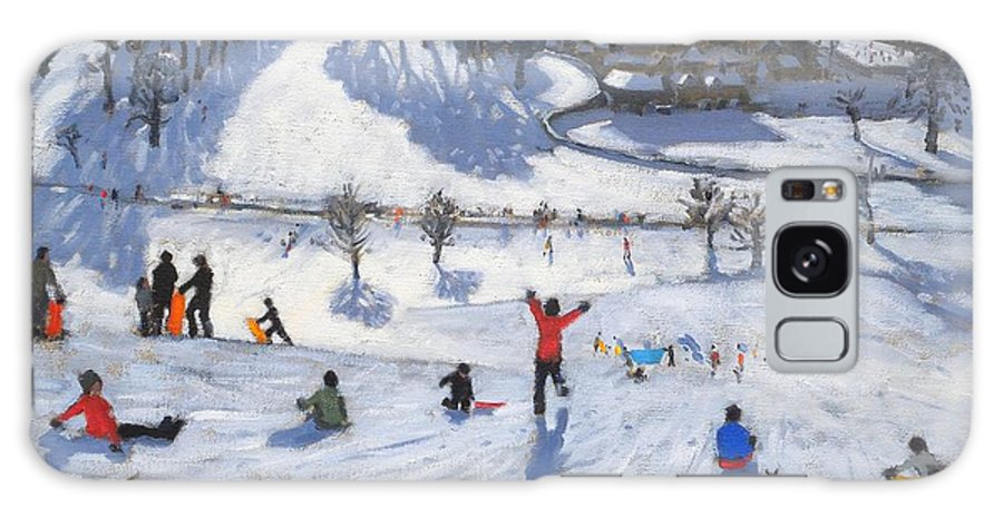 Winter Fun Galaxy S8 Case featuring the painting Winter Fun by Andrew Macara