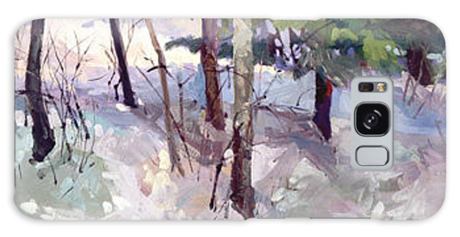 Landscape Galaxy S8 Case featuring the painting Winter Garden Plein Air by Betty Jean Billups
