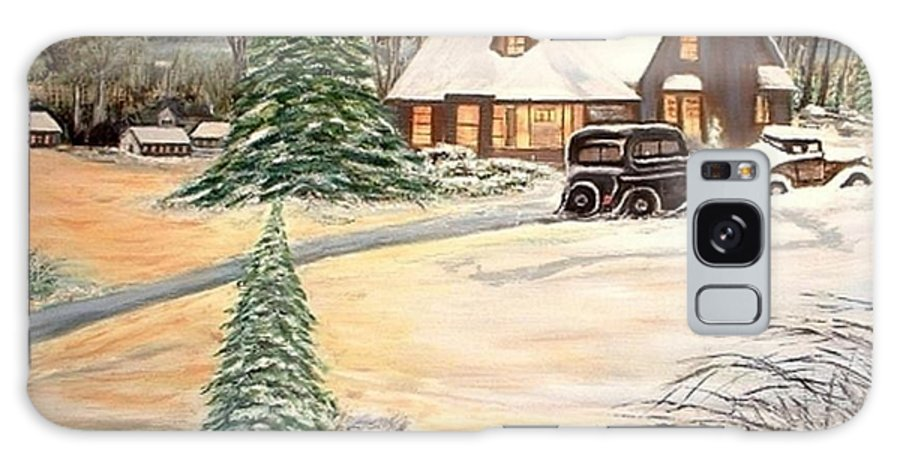 Landscape Home Trees Church Winter Galaxy Case featuring the painting Winter Home by Kenneth LePoidevin