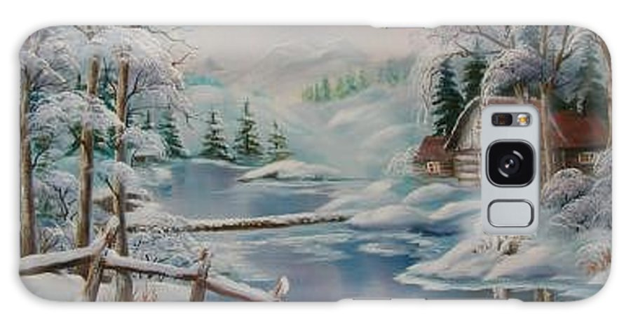 Winter Scapes Galaxy S8 Case featuring the painting Winter In The Valley by Irene Clarke