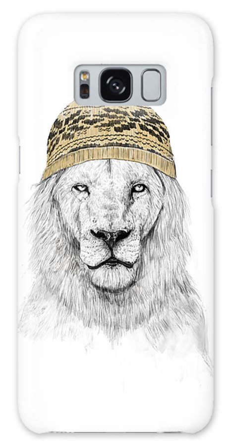 Lion Galaxy Case featuring the drawing Winter lion by Balazs Solti