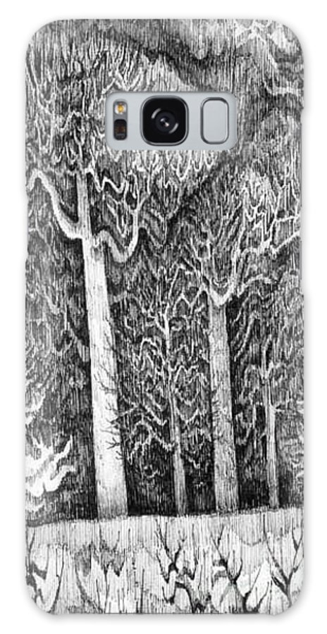 Black And White Galaxy S8 Case featuring the drawing Winter Lace by Anna Duyunova